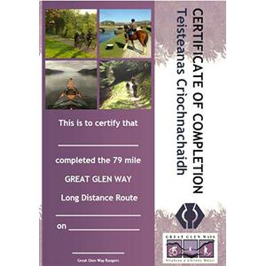 Picture of Great Glen Ways completeion certificate