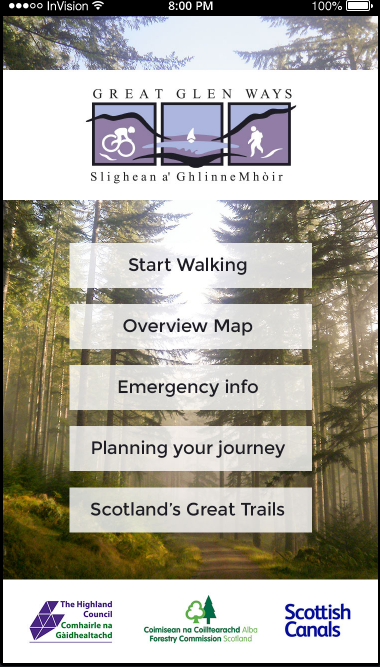 Mock design of the Great Glen Ways App