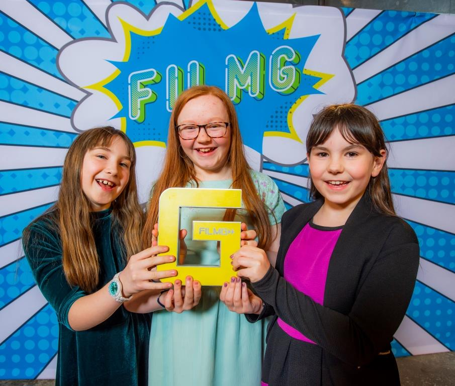 Staffin Primary (left to right) Ellie MacQueen, Willow Ferguson and Holly Macleod, FilmG awards 2019 - Pics Alan Peebles