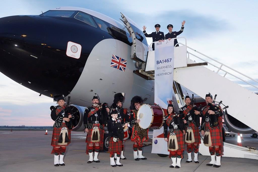 Inverness Royal British Legion Pipe Band piped passengers on board the first early morning BA flight this week marking both the band and British Airways centenary years.