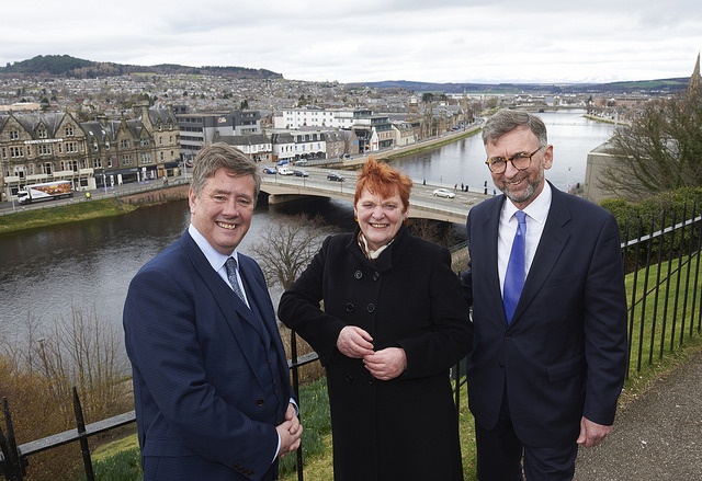 Cllr Margaret Davidson with Keith Brown MSP and Lord Dunlop.