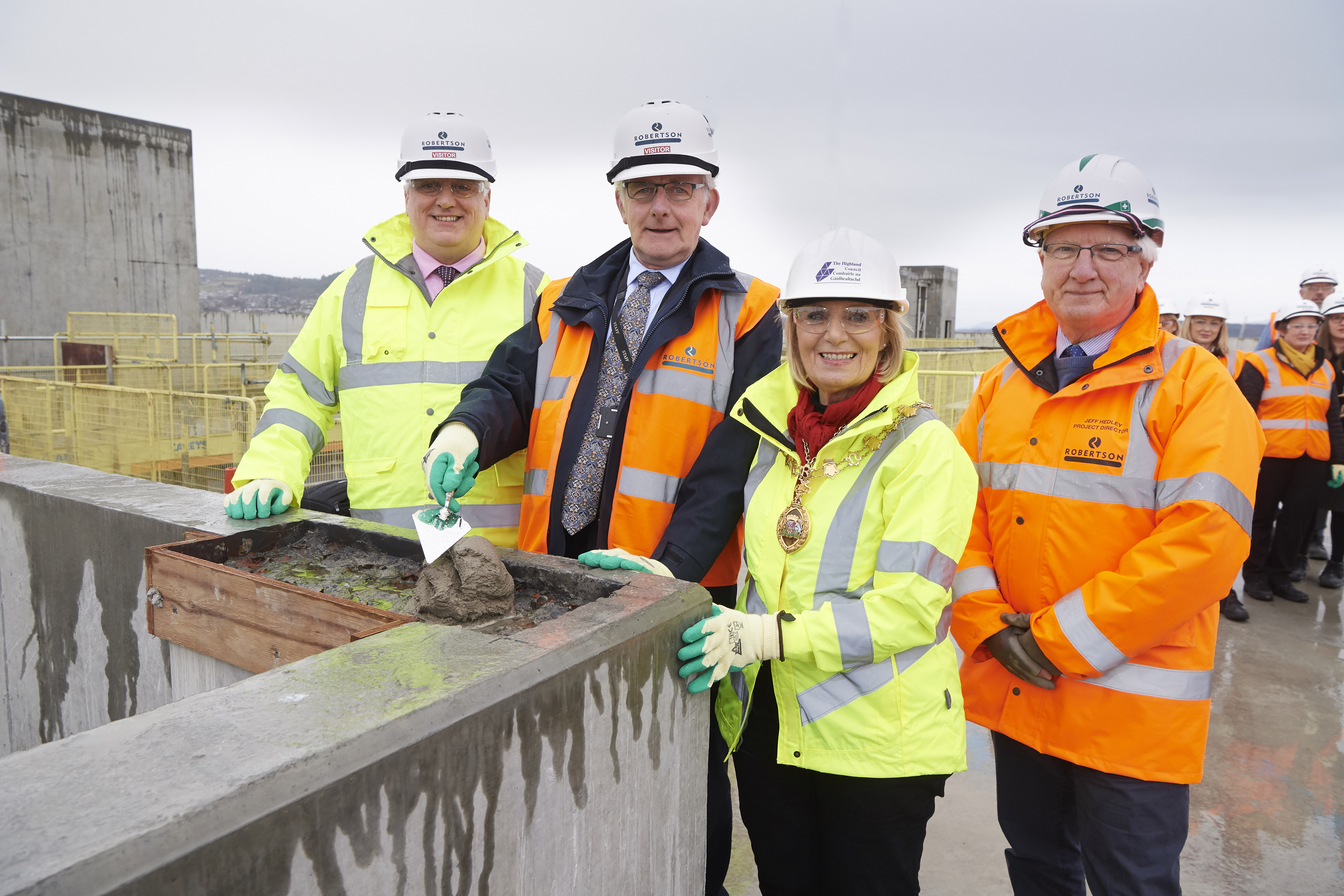 Provost Carmichael at the topping out ceremony