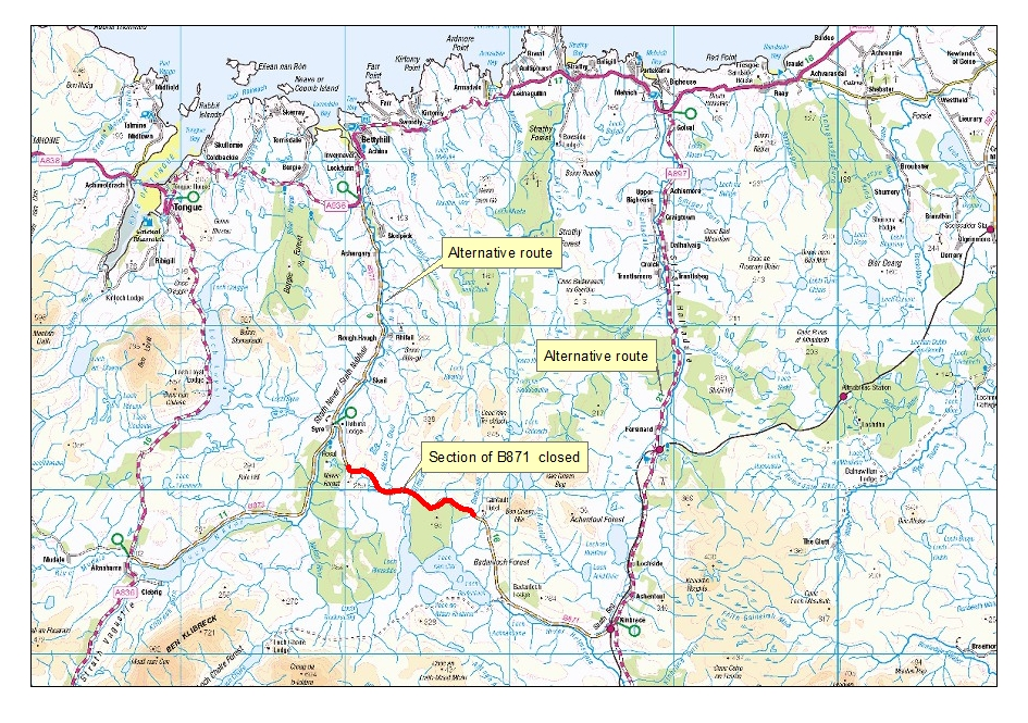 B871 Road Closure Map