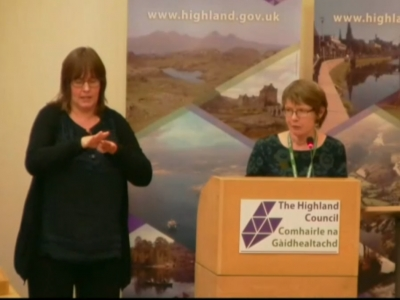 Cheryl Mechan, BSL/English Interpreter and Rosemary MacKinnon, Principal Policy Officer - Equalities present Highland Council's BSL plan