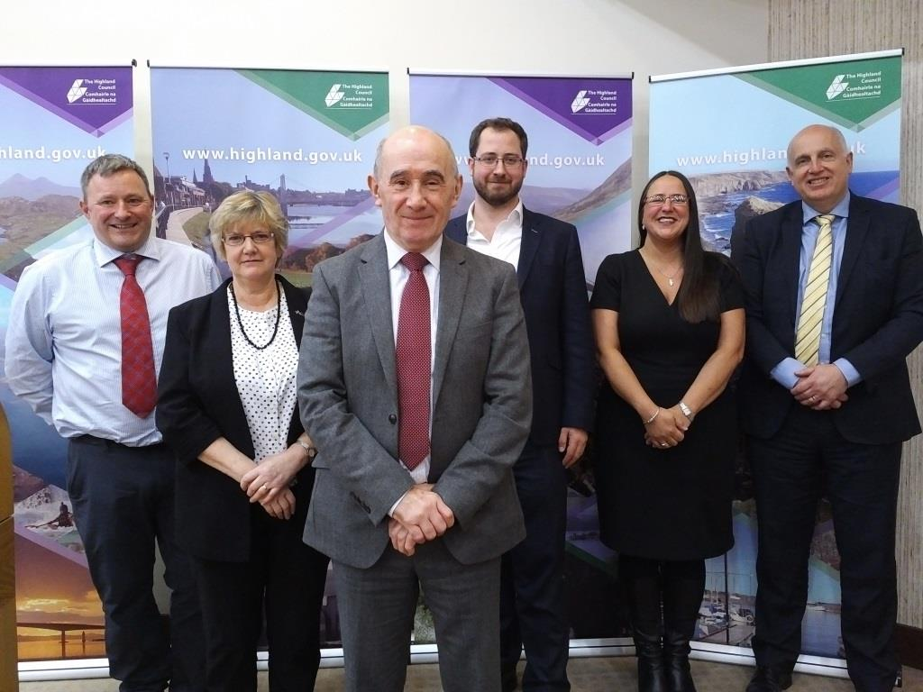 Steven Thomson SRUC, Linda Stewart UHI, Cllr Jimmy Gray (Summit Chair), Fraser Grieve SCDI, Louise McGunnigle, Highland Council, Prof John Bachtler, University of Strathclyde