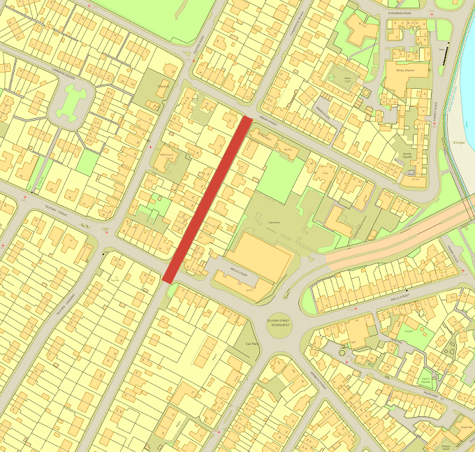 Extent of road closure