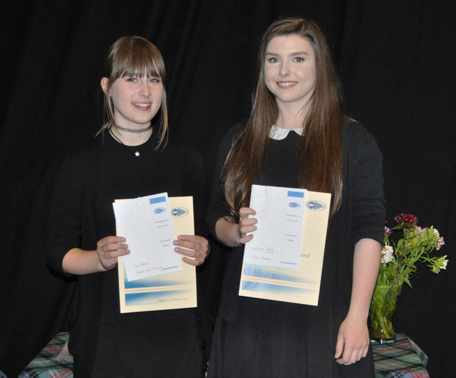 Charlie Anne Pleming and Kate Bradley best in school