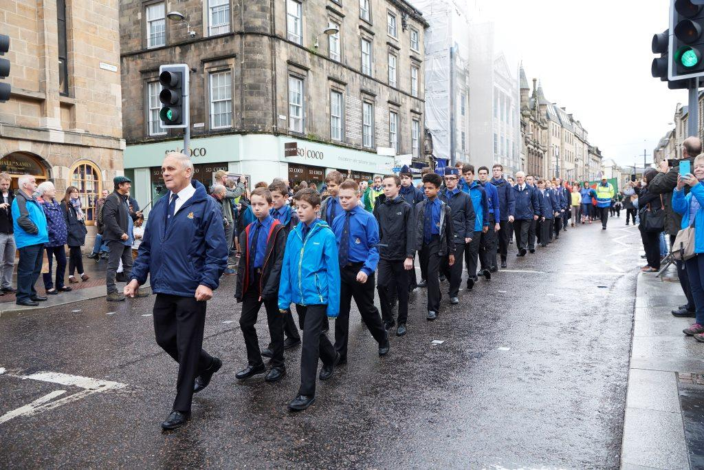 •	Colin Baillie leads The Boys Brigade at the 2017 Kirking of the Council in Inverness