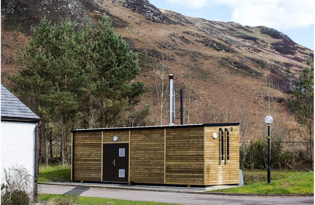 bio mass cabin installed at Auchtertyre Primary School