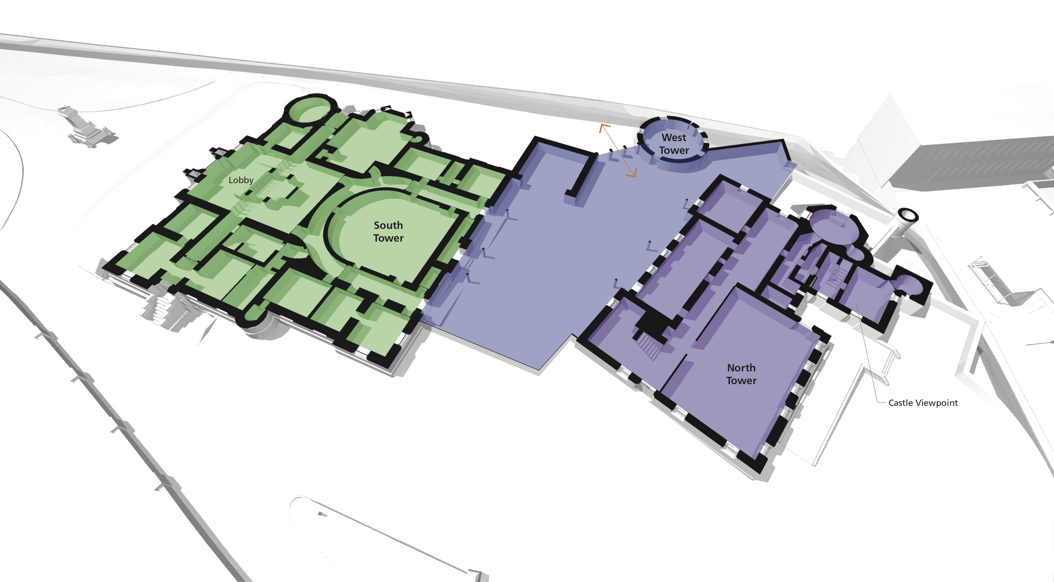 Proposed ground floor layout of Inverness Castle. © LDN Architects