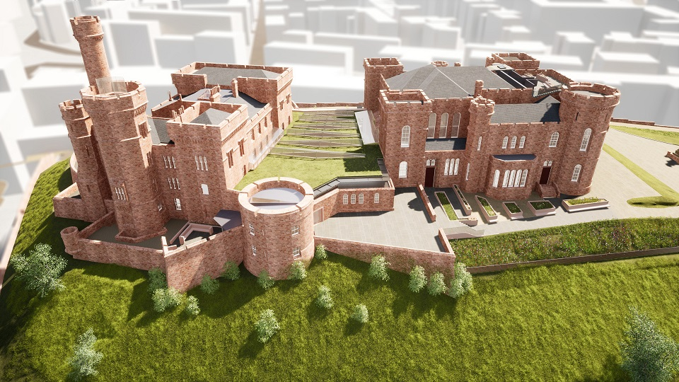 Artist's impression of Inverness Castle following transformation, including proposed viewing platform on roof terrace ©LDN Architects
