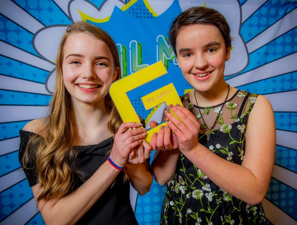 """Faye MacKinnon and Annie MacNeil accepted the award on behalf of all the Lochaber High School FilmG crew who include Faye MacKinnon, Annie MacNeil, Laura Robertson, Evan Patterson, Serena Matheson, Josephine Matheson, Aine O' Rua and Flora Stevenson."""