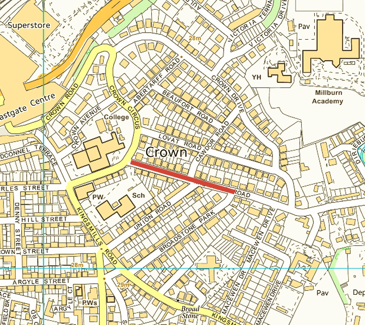 Extent of Midmills Road closure