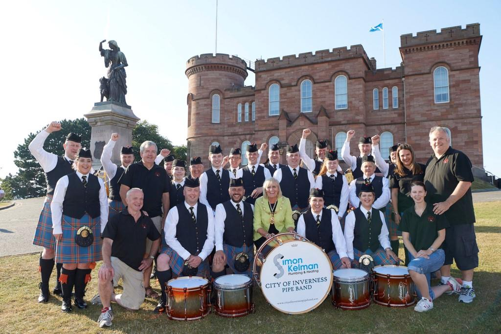 City of Inverness Pipe Band is joined by Provost and Leader of City of Inverness and Area Cllr Helen Carmichael and LCC Live staff to announce Inverness as the new home of the European Pipe Band Championships for the next three years.
