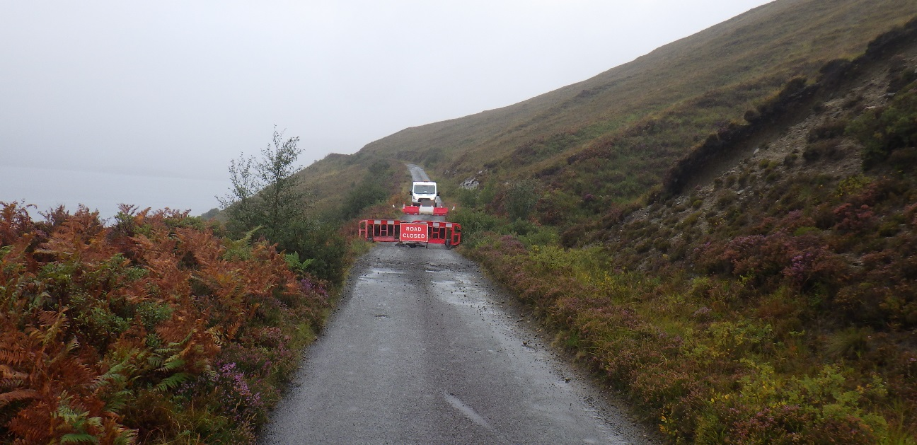 Road closure signs on the Moll Road, Skye