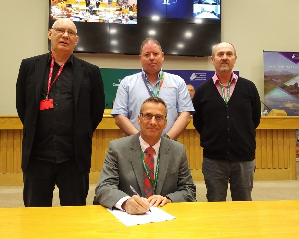 Steve Barron, Highland Council Chief Executive (seated) with (standing ltor) Richard Whyte (Unite), Paul MacPherson (GMB) and Michael Hayes (Unison)