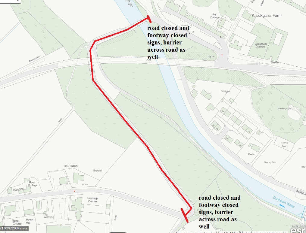 Dunbeath road closed plan