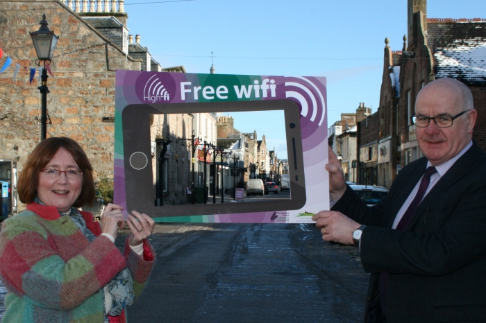 Cllr Angela MacLean and Cllr Alister Mackinnon launch High-Fi for Dingwall