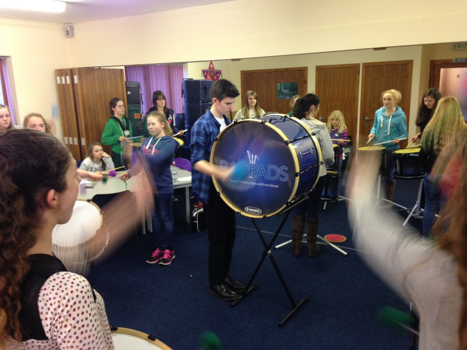 young drummers taking part in the workshop events